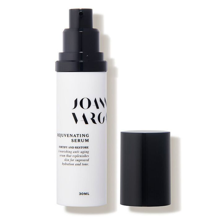 """The serum Kaling says she swears by is the&nbsp;Joanna Vargas Rejuvenating Serum, a botonically based anti-aging serum packed with vitamin C for brightening and restorative oils like argan, jojoba and neroli.&nbsp;<strong><a href=""""https://fave.co/2Hljs76"""" target=""""_blank"""" rel=""""noopener noreferrer"""">Get it at Dermstore, $100</a></strong>."""