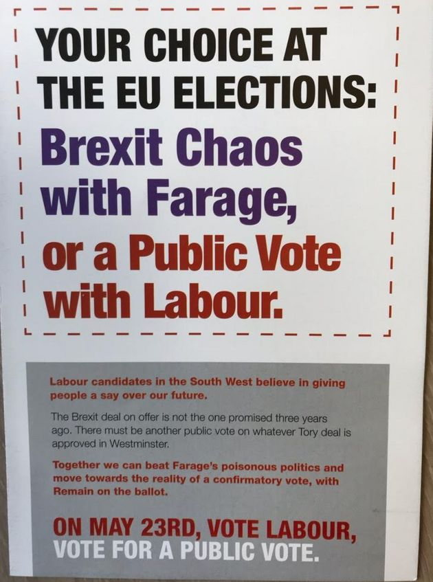 The leaflet backing Labour's public vote policy, delivered by unions in the South