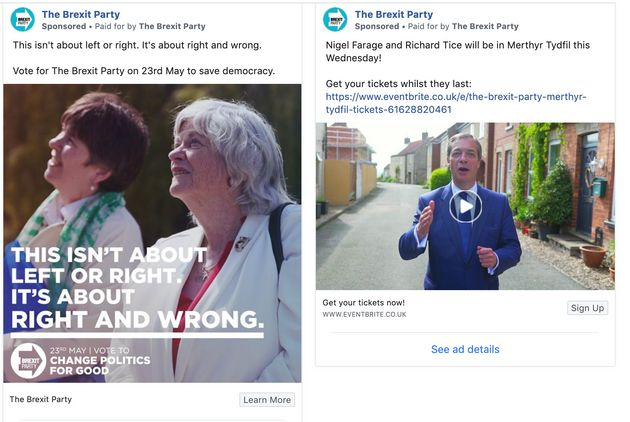 Brexit Party Facebook ads targeting pro-Remain