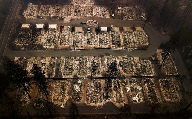 The remains of homes leveled by the wildfire last November in Paradise,