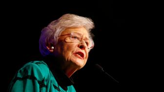 Republican Gov. Kay Ivey speaks to supporters after she won the election at a watch party, Tuesday, Nov. 6, 2018, in Montgomery, Ala. (AP Photo/Butch Dill)