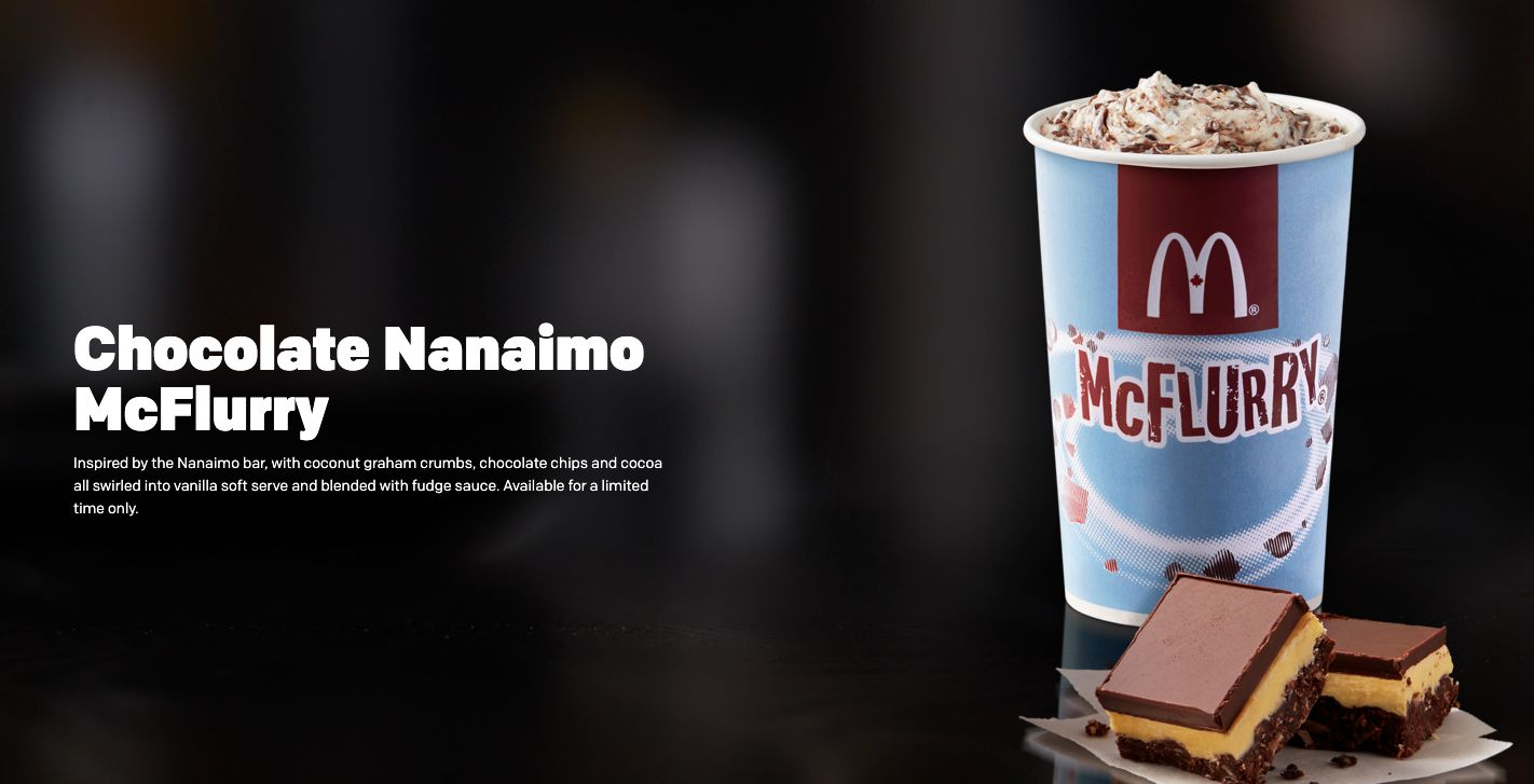 The new Nainamo McFlurry, inspired by the Canadian treat.