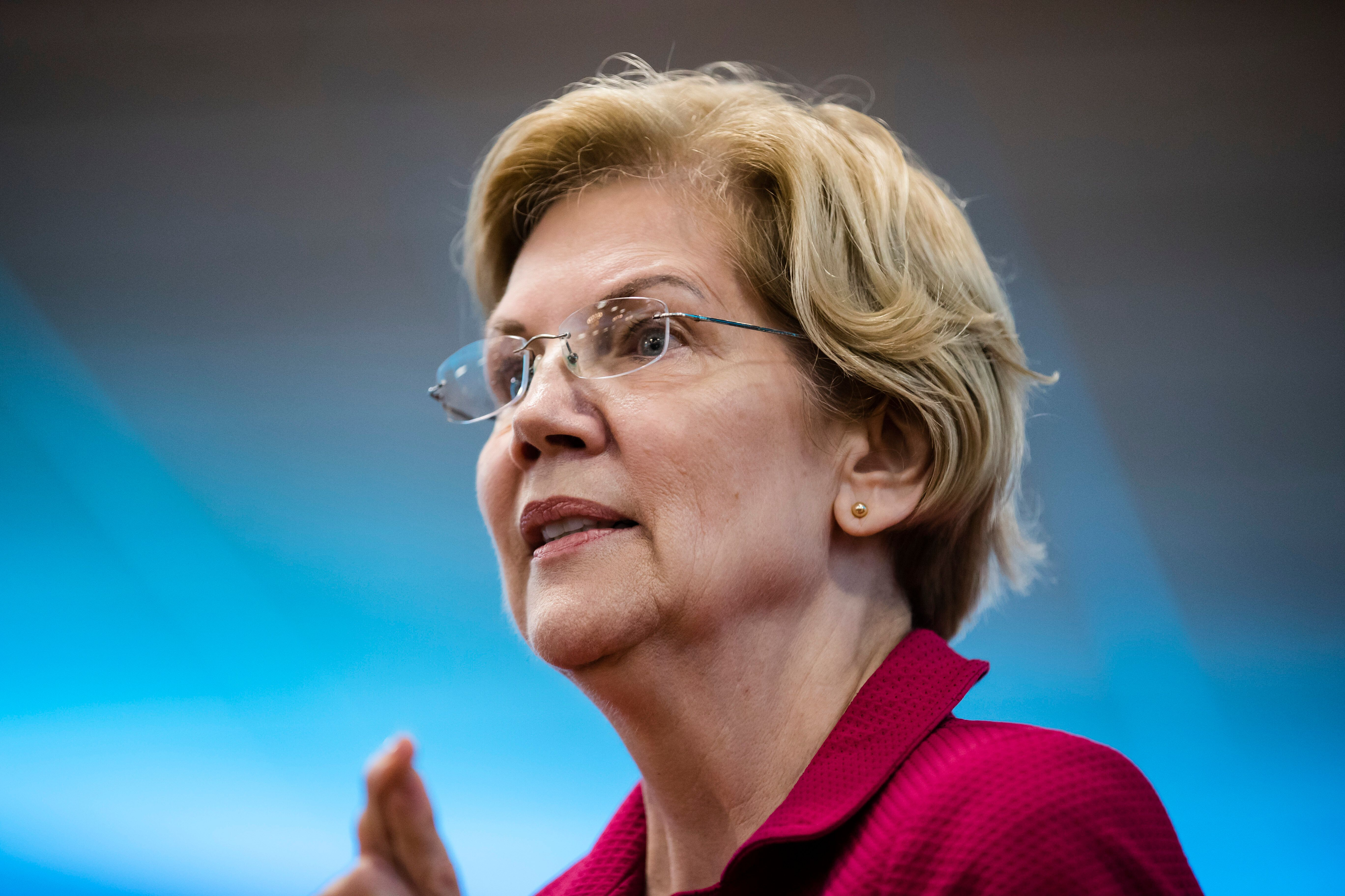 Democratic presidential candidate Sen. Elizabeth Warren, D-Mass., during an American Federation of Teachers town hall event, at the Plumbers Local 690 Union Hall in Philadelphia, Monday, May 13, 2019. (AP Photo/Matt Rourke)