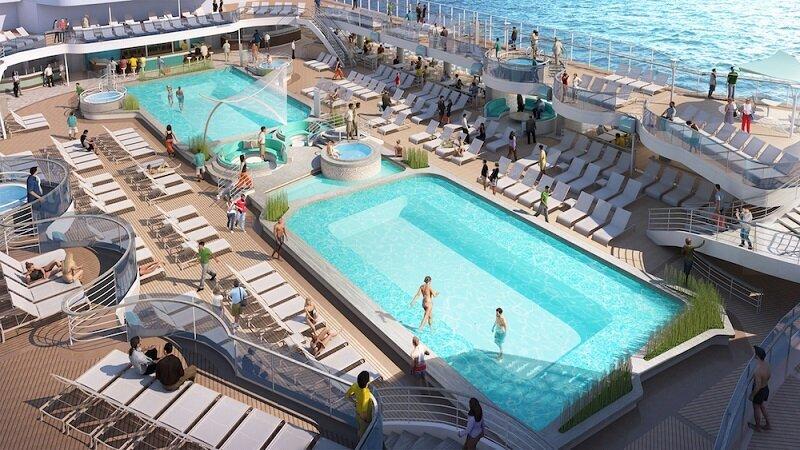 星空公主號於甲板新增一個尾跡泳池,賓客們可享受到兩個全新的頂層甲板深水泳池、一個放鬆身心的祕境泳池。(圖/公主遊輪)