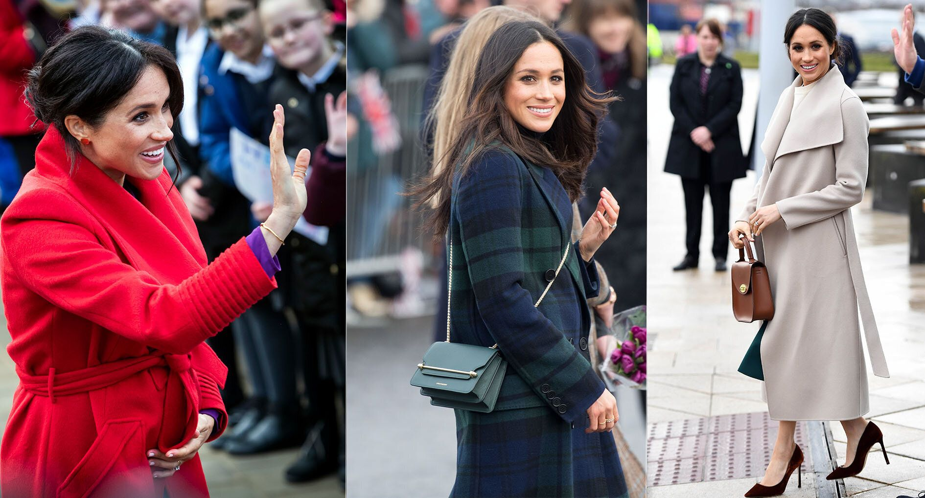 The Duchess of Sussex has raised the profile for many smaller British fashion labels [Photos: Getty/PA]