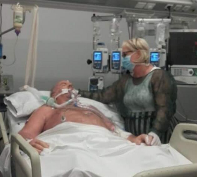 Paddy Clancy in hospital where he was in an induced coma for six