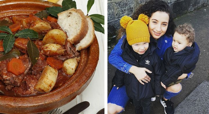 Lillian Debono with her two kids and a rabbit stew her mum makes.