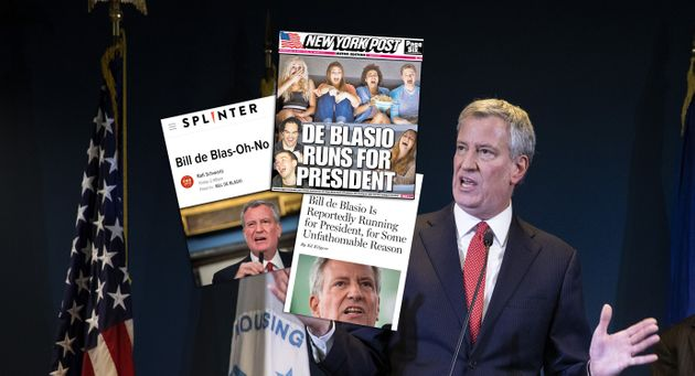 Les différentes Unes moquant Bill de Blasio à l'annonce de sa candidature à la présidentielle...