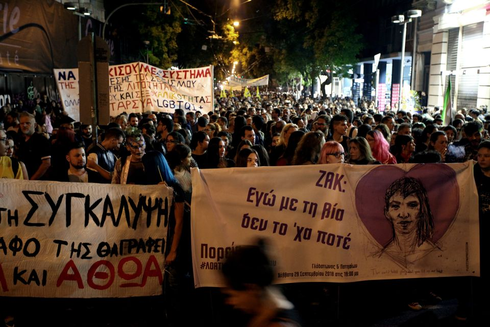 Protest march in memory of activist Zak Kostopoulos in Athens, Greece on October 2, 2018. (Photo by Giorgos...