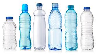 set of water plastic bottle isolated on white background