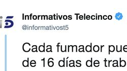 Telecinco matiza un tuit sobre los descansos de los trabajadores tras recibir duras