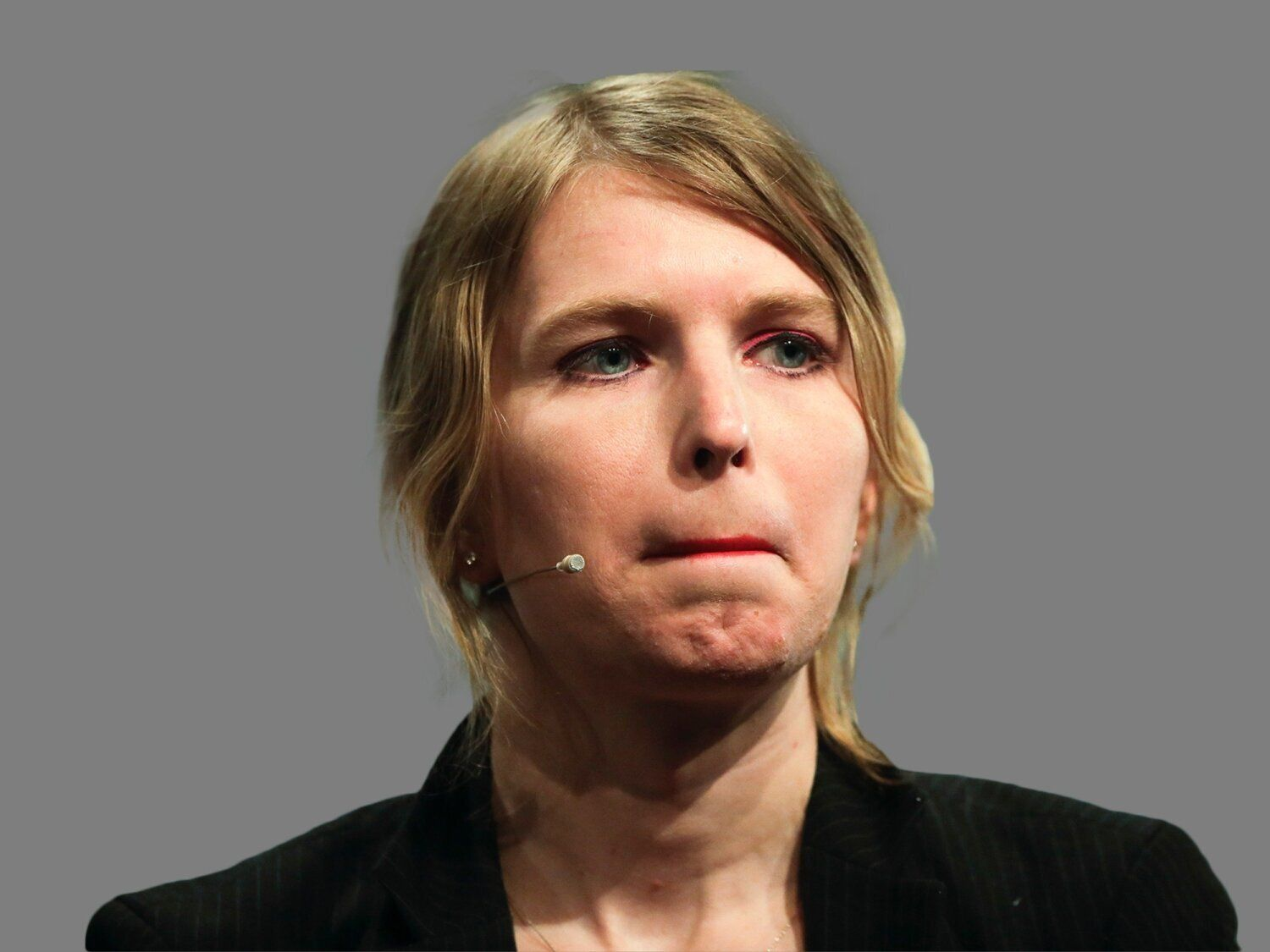 Chelsea Manning headshot, former US Army intelligence analyst who spent time in prison for sharing classified documents, graphic element on gray