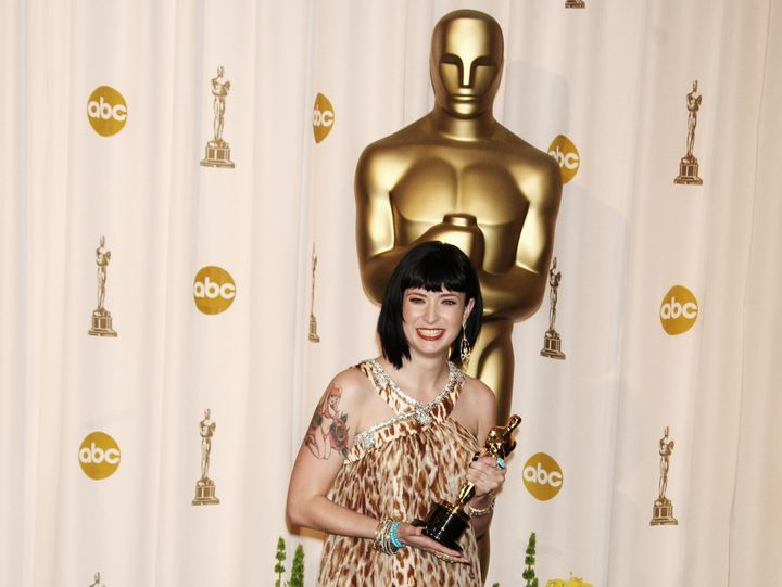 Diablo Cody with her Oscar for Best Original Screenplay in 2008. (Photo by Alain BENAINOUS/Gamma-Rapho via Getty Images)