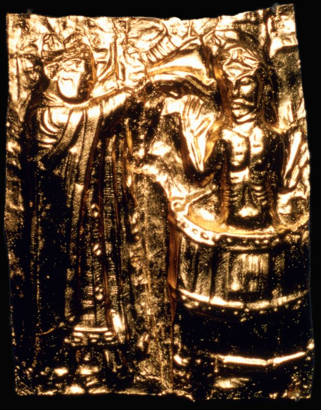 This gilt plaque is believed to depict King Harald Bluetooth's baptism in the 10th