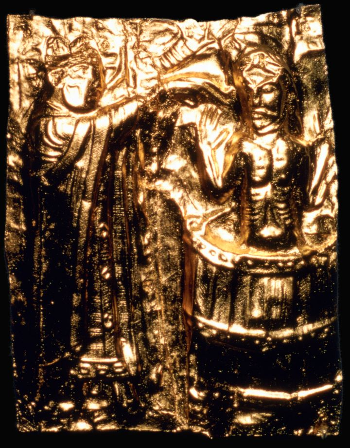 This gilt plaque is believed to depict King Harald Bluetooth's baptism in the 10th century.