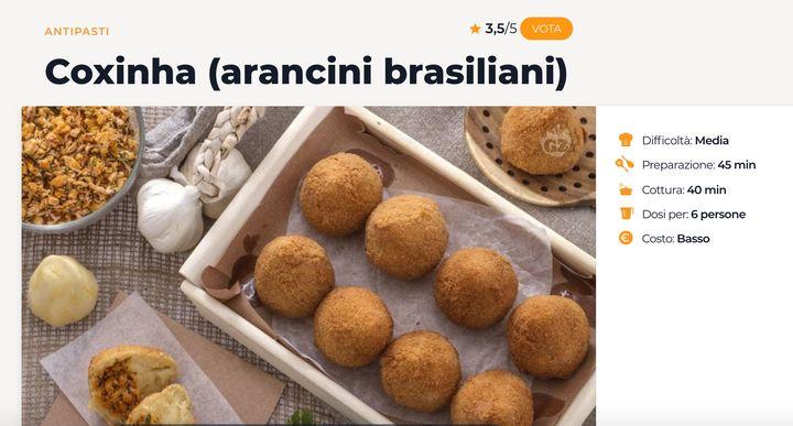 """Na Itália, a coxinha é chamada """"arancini brasileira""""."""