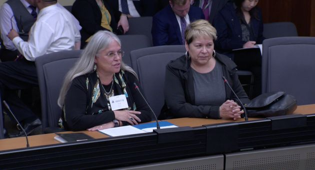 Six Nations Chief Ava Hill and director of justice Barbara General present at the Ontario government's finance committee on May 7, 2019.