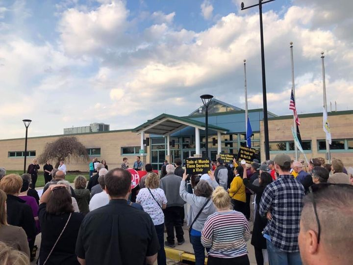 People gather for a prayer vigil outside the Kenosha County Detention Center in Wisconsin on May 15, 2019.