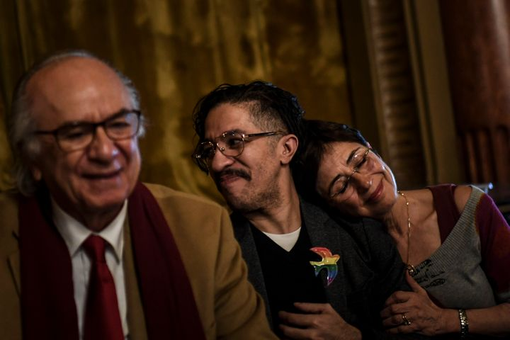 """Jean Wyllys, center, at a conference titled """"Why exile from Brazil today?"""" at the Casa do Alentejo in Lisbon on Feb. 27, 2019."""