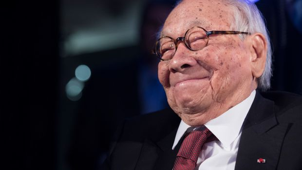 Chinese American architect I.M. Pei smiles as he accepts the Lifetime Achievement award during the 2016 Asia Game Changer Awards ceremony, Thursday, Oct. 27, 2016, in New York. The award, created in 2014 by the Asia Society, honors leaders who are making a positive contribution to the future of Asia. (AP Photo/Mary Altaffer)