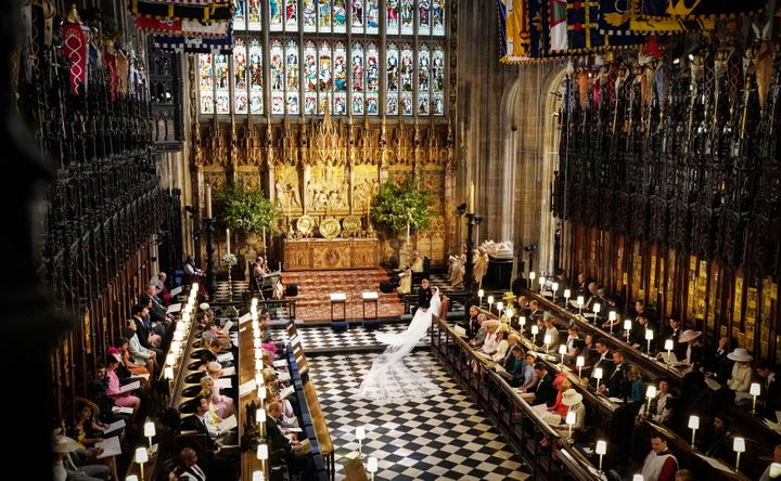 Prince Harry and Meghan in St. George's Chapel.