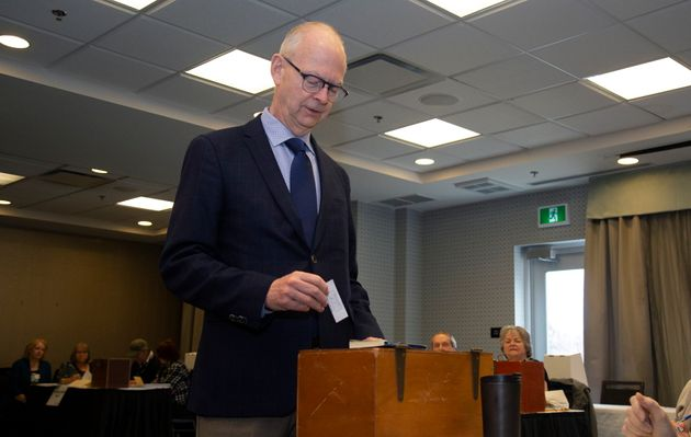 Progressive Conservative Leader Ches Crosbie casts his ballot for the district of Windsor Lake, in the...