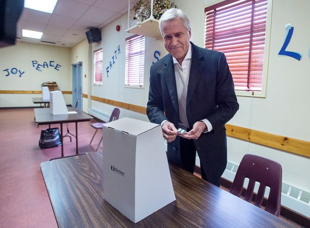 Liberal Leader Dwight Ball cast his vote in the provincial election at Immaculate Conception Roman Catholic...