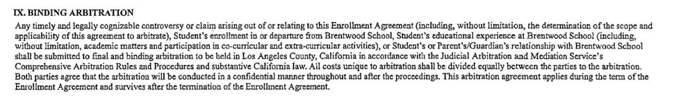 The mandatory arbitration clause in Brentwood School's enrollment agreement.