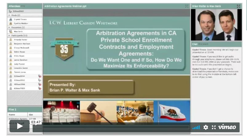 A law firm that has represented Brentwood School in the Doe case held a webinar on arbitration agreements in private schools.