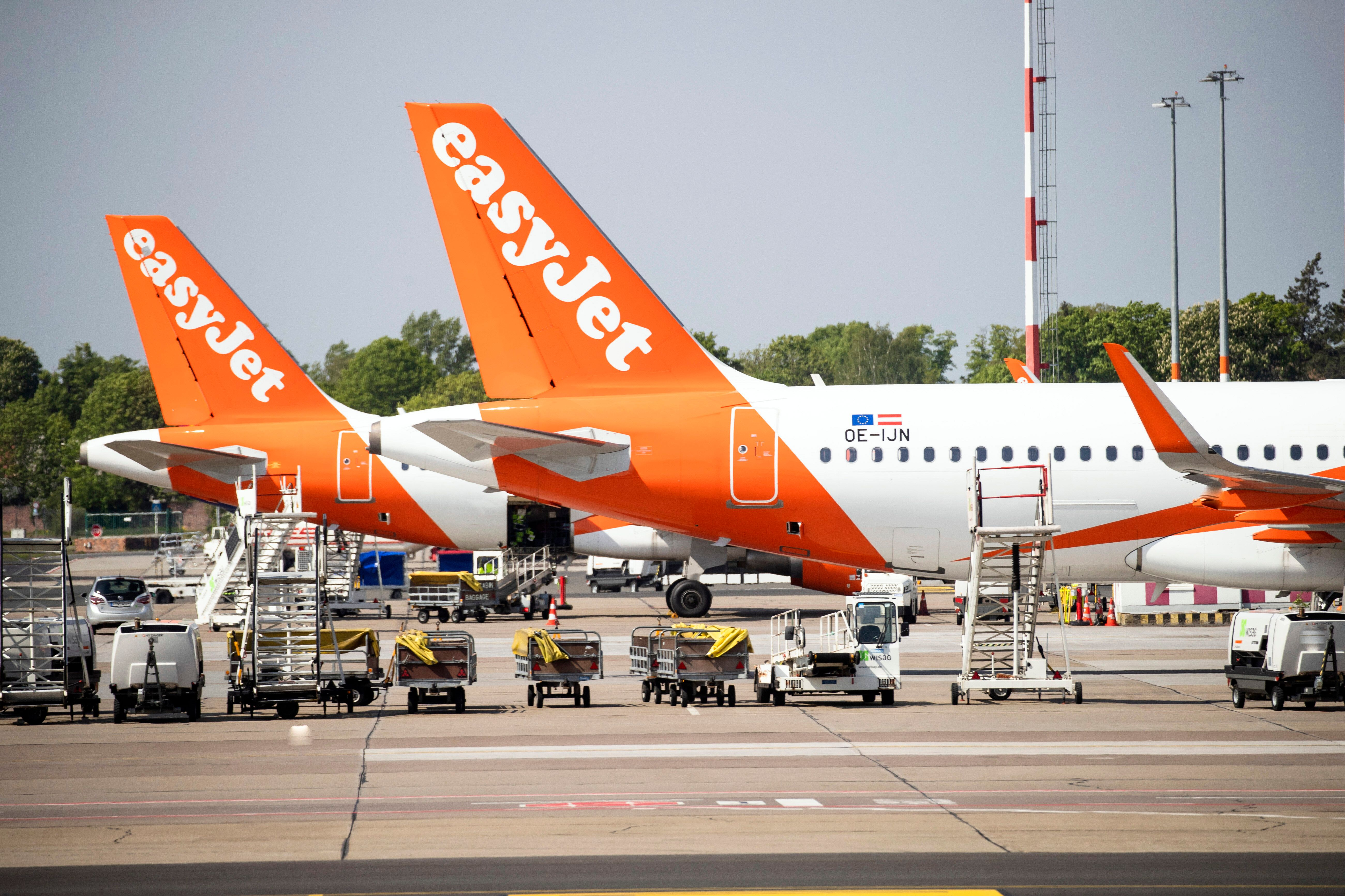 Easyjet airplanes are seen at Berlin's airport in Schoenefeld, Germany on on May 8, 2019.  (Photo by Emmanuele Contini/NurPhoto via Getty Images)