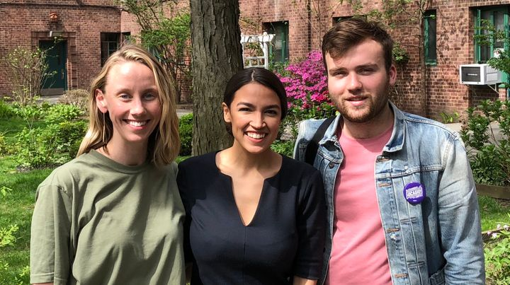 Means TV founders Naomi Burton, left, and Nick Hayes, right, with Alexandria Ocasio-Cortez.