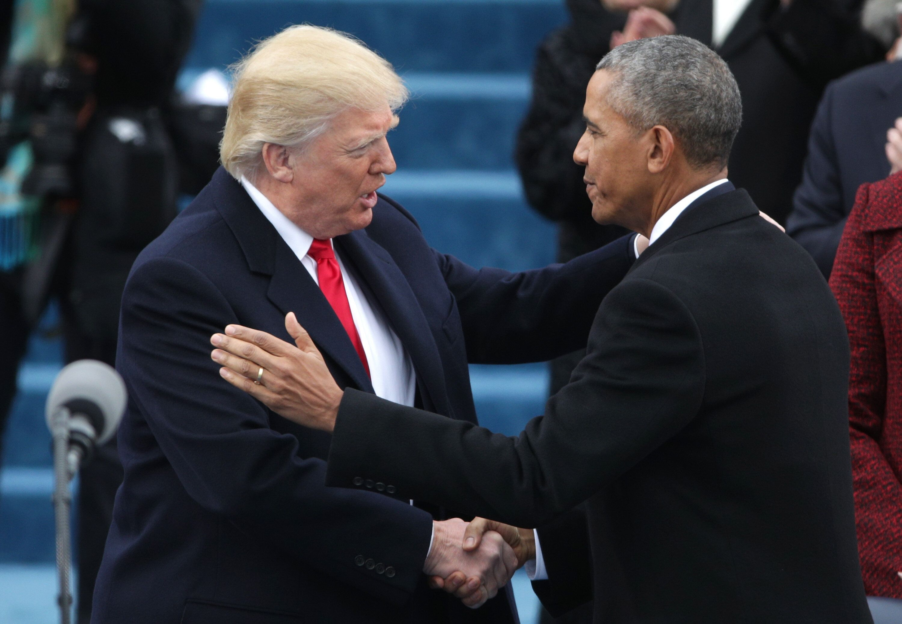 WASHINGTON, DC - JANUARY 20:  President Barack Obama (R) greets President Elect Donald Trump on the West Front of the U.S. Capitol on January 20, 2017 in Washington, DC. In today's inauguration ceremony Donald J. Trump becomes the 45th president of the United States.  (Photo by Alex Wong/Getty Images)