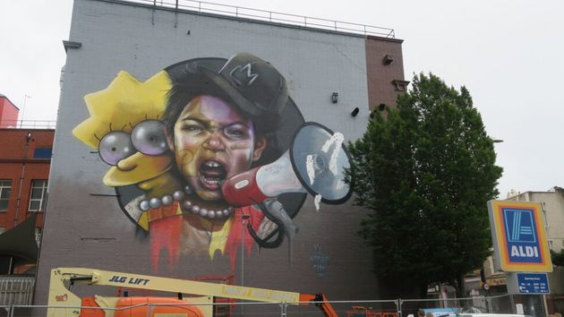 Female street artist duo Nomad Clan painted this mural of