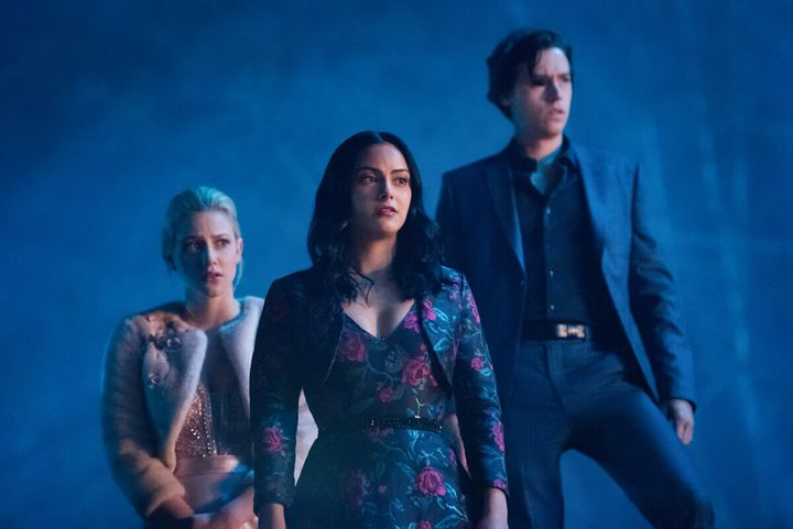 "Lili Reinhart, Camila Mendes and Cole Sprouse in ""Riverdale."""