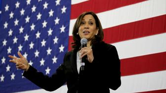 NASHUA, NH - MAY 15: U.S. Senator and presidential candidate Kamala Harris speaks during a town hall event at Girls Inc in Nashua, NH on May 15, 2019. (Photo by Craig F. Walker/The Boston Globe via Getty Images)