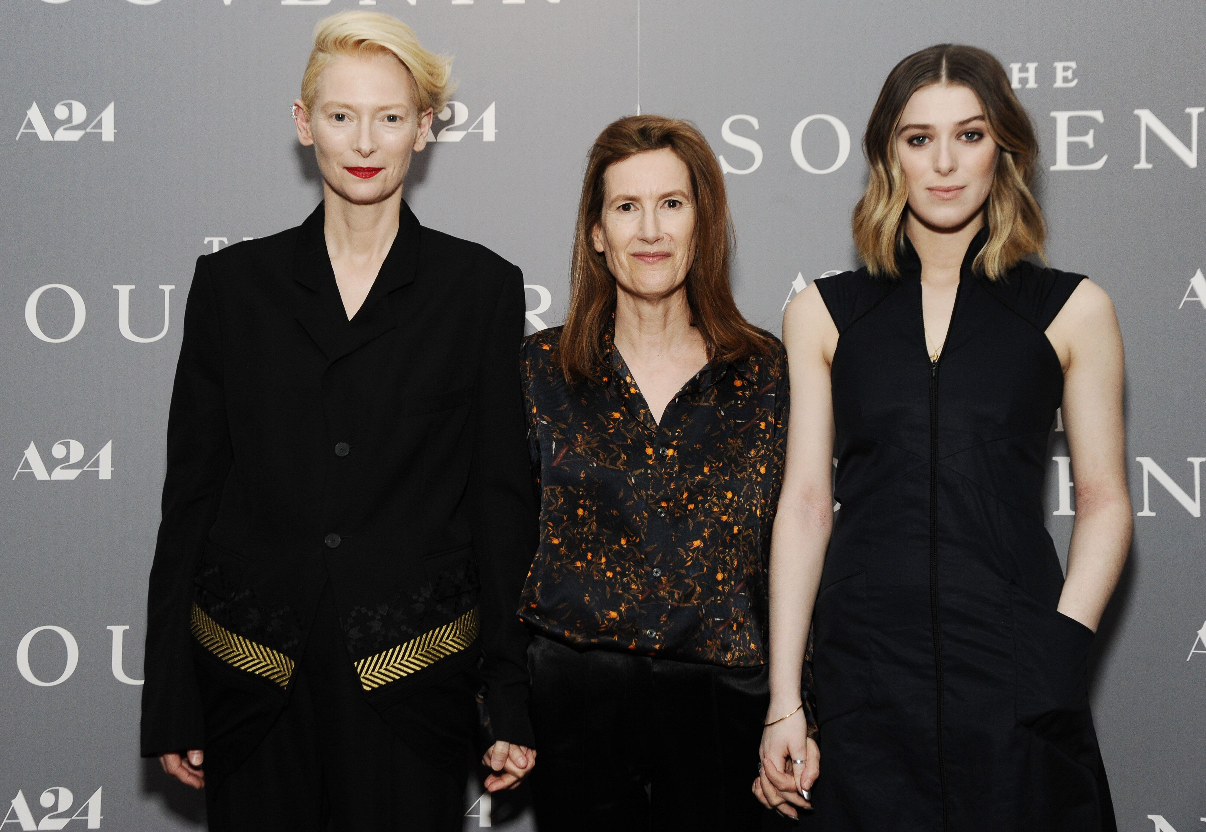 "Tilda Swinton, Joanna Hogg and Honor Swinton Bryne at a screening of ""The Souvenir"" on May 8."