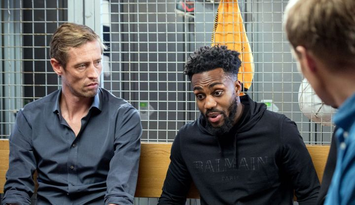 Peter Crouch with Danny Rose.
