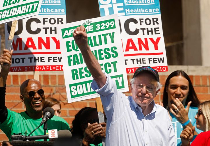 Bernie Sanders spoke at a rally for University of California workers in March. This week his presidential campaign urged supp