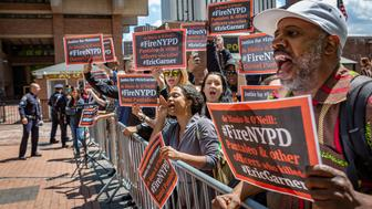 On May 16, 2019, dozens of protesters gathered at the New York City Police Headquarters in downtown Manhattan, where the administrative hearing of NYPD officer Daniel Pantaleo entered its fourth day. Pantaleo is the officer responsible for the chokehold death of Eric Garner in 2014. Throughout the press conference, protesters shouted down Pat Lynch, President of the Patrolmen's Benevolent Association, calling for Pantaleo to be fired and sent to jail. (Photo by Michael Nigro/Sipa USA)
