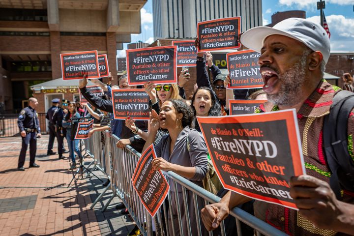 On May 16, 2019, dozens of protesters gathered at the New York City Police Headquarters in downtown Manhattan, where the admi