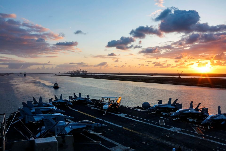 The USS Abraham Lincoln transits the Suez Canal in Egypt earlier this