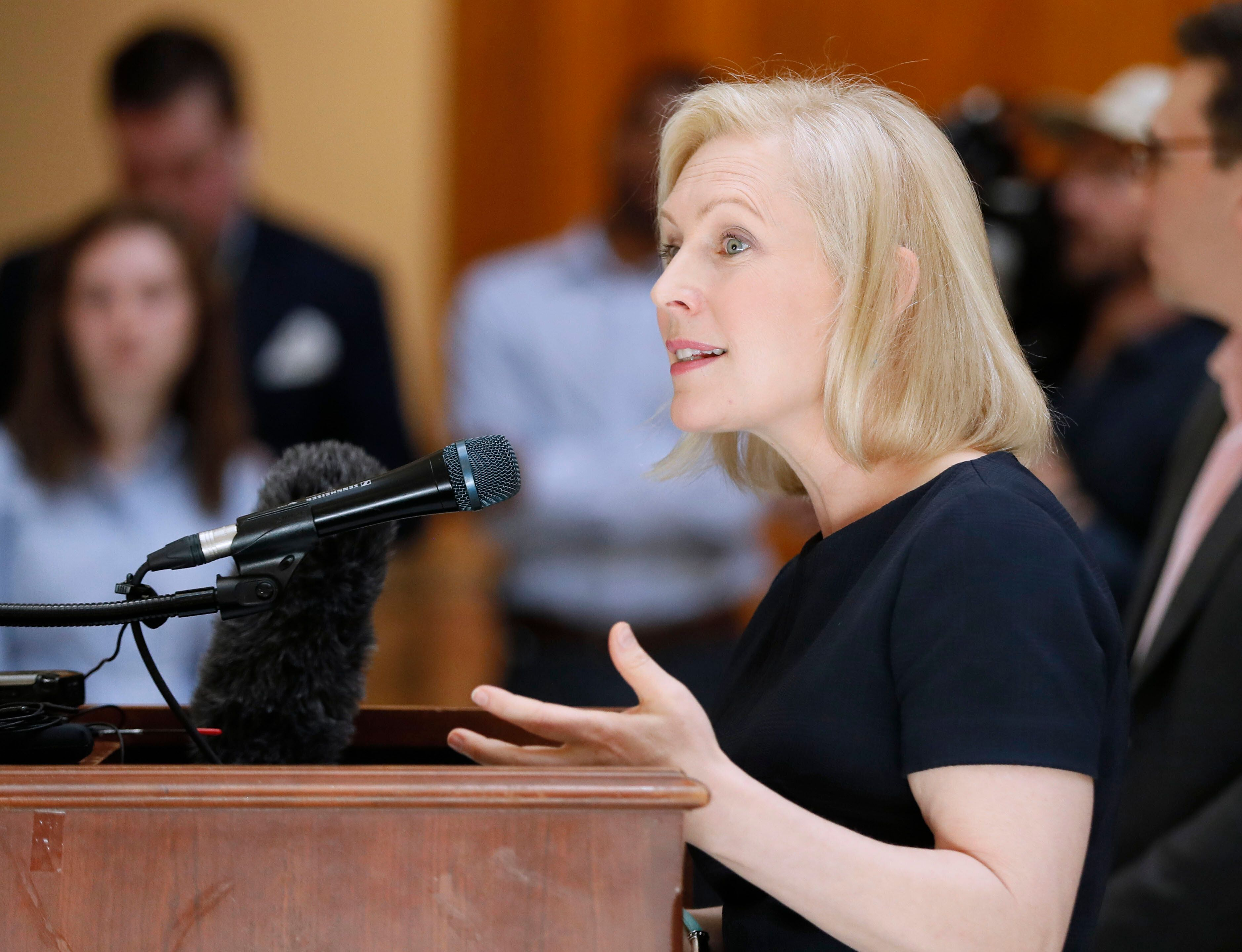 Presidential candidate Sen. Kirsten Gillibrand speaks during a news conference at the Georgia State Capitol in Atlanta on Thu