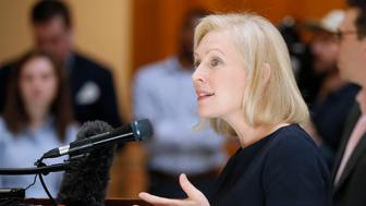 "Presidential candidate Sen. Kirsten Gillibrand, D-N.Y., speaks during a news conference at the Georgia State Capitol in Atlanta on Thursday, May 16, 2019 to discuss abortion bans in Georgia and across the country. Georgia was the fourth state this year to pass anti-abortion ""heartbeat"" legislation, but Democratic presidential candidates have taken aim at the state's law banning most abortions after six weeks that's set to go into effect in January. (Bob Andres/Atlanta Journal-Constitution via AP)"