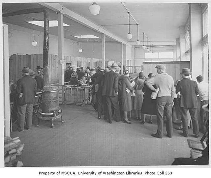 "Food bank interior, King County, Washington, ca. 1934. <a rel=""nofollow"" href=""https://digitalcollections.lib.washington.edu"