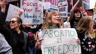 """May 4, 2019 - progressive activist groups from NYC counter-protested the religious organization """"Focus on the Family"""" because of its radical anti-abortion and homophobic agenda in Times Square in New York City. """"Focus on the Family"""" had rented three large stages in Times Square showcasing Christian singers and showing a video of a 4D ultrasound in protest of NY's recently passed late-term abortion law to further spread false information about the law. (Photo by Gabriele Holtermann-Gorden/Sipa USA)"""