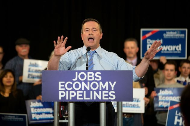 United Conservative Party leader Jason Kenney speaks during a campaign rally in Edmonton...