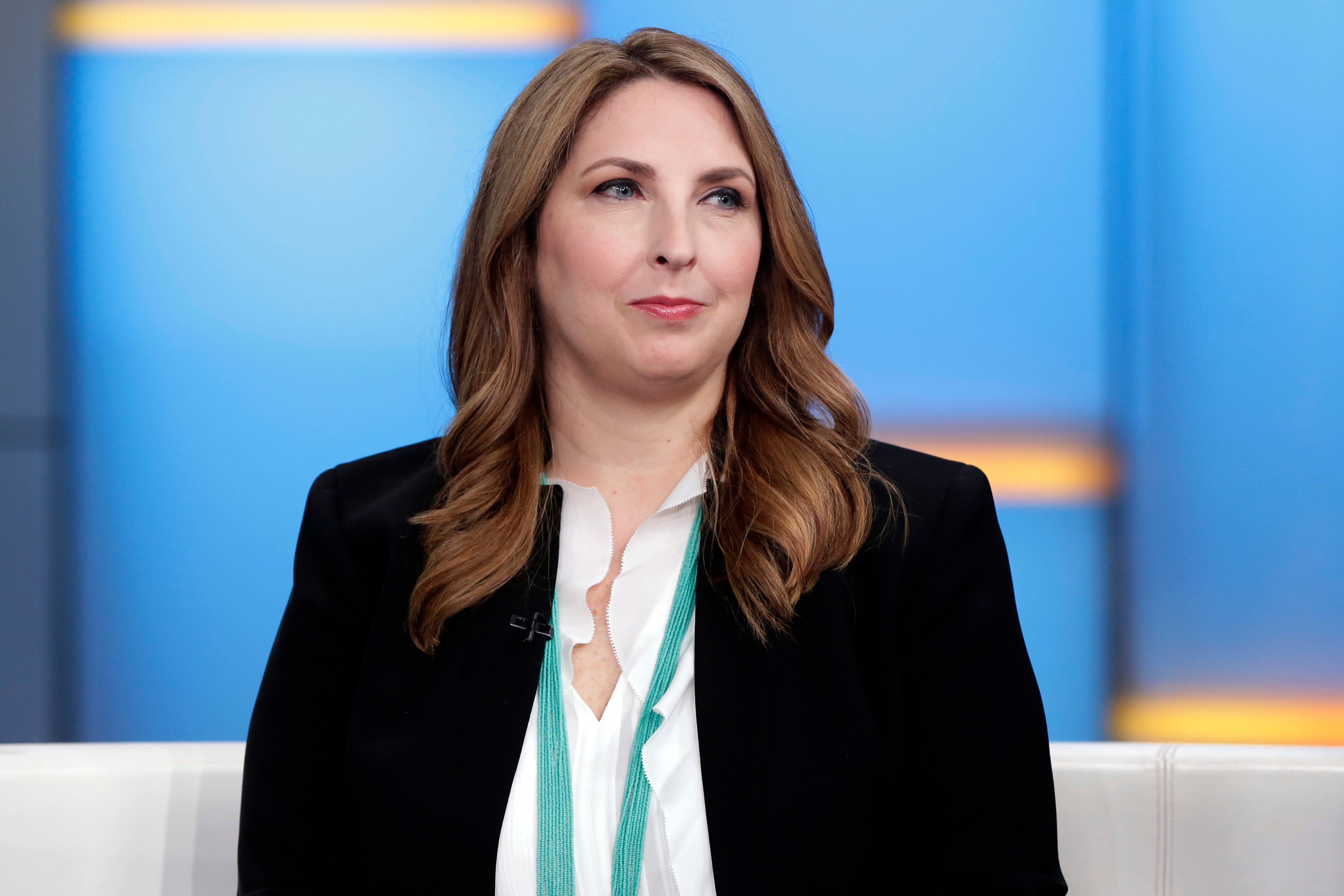 "Chair of the Republican National Committee Ronna McDaniel appears on the ""Fox & friends"" television program in New York Thursday, May 24, 2018. (AP Photo/Richard Drew)"