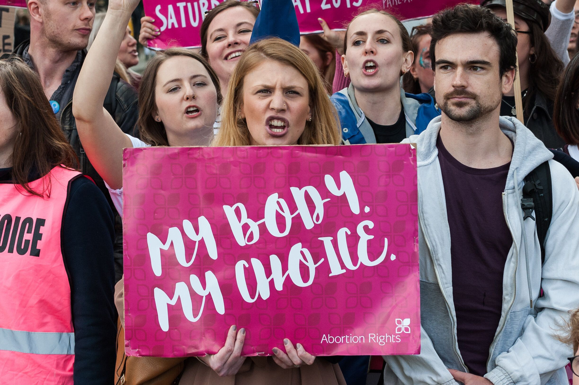 LONDON, UNITED KINGDOM - MAY 11: Pro-choice supporters stage a demonstration in Parliament Square to campaign for women's reproductive rights, legalisation of abortion in Northern Ireland and it's decriminalisation in the UK on 11 May, 2019 in London, England. The demonstration is a counter-protest to the anti-abortion 'March for Life'  taking place alongside. (Photo credit should read Wiktor Szymanowicz / Barcroft Media via Getty Images)