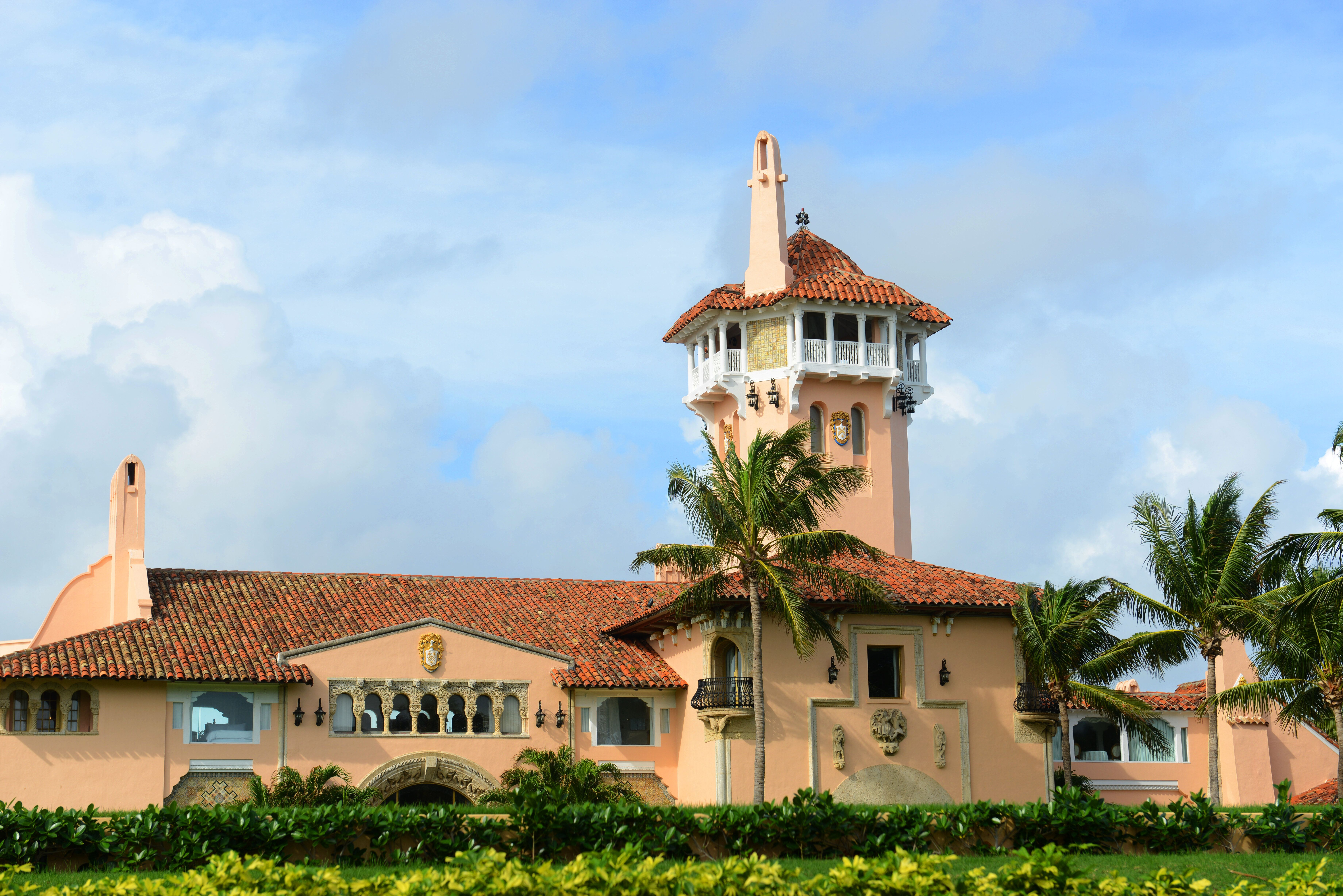 Mar-a-Lago on Palm Beach Island, Palm Beach, Florida, USA. Mar-a-Lago is Palm Beach's grandest mansion with 58 bedrooms and 33 bathrooms. The building was built in 1927 by Joseph Urban and Marion Wyeth.