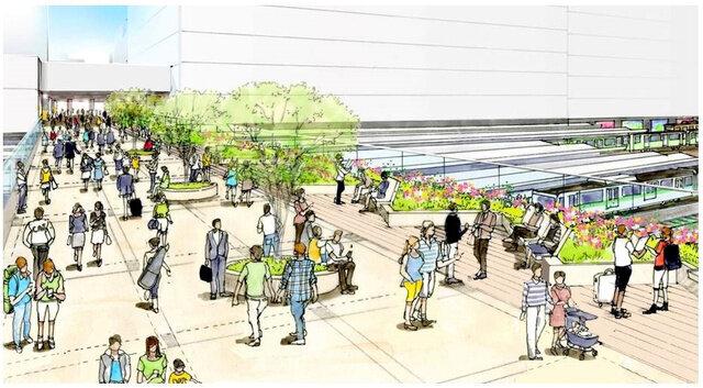 新宿駅の東西を結ぶデッキの完成イメージ図(東京都提供)